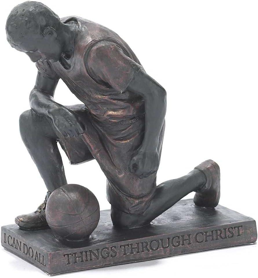 Dicksons Through Christ Praying Basketball 5 inch Grey Resin Stone Table Top Figurine