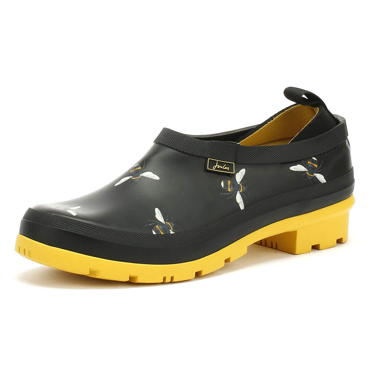 Black Botanical Bees Joules Women's Pop On Welly Clogs