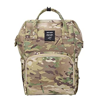 a091bedcf3 Amazon.com   Gizwise Camo Backpack Diaper Bag for Women Men Insulated  Toddler Travel Backpack Yellow with Stroller Hook   Baby