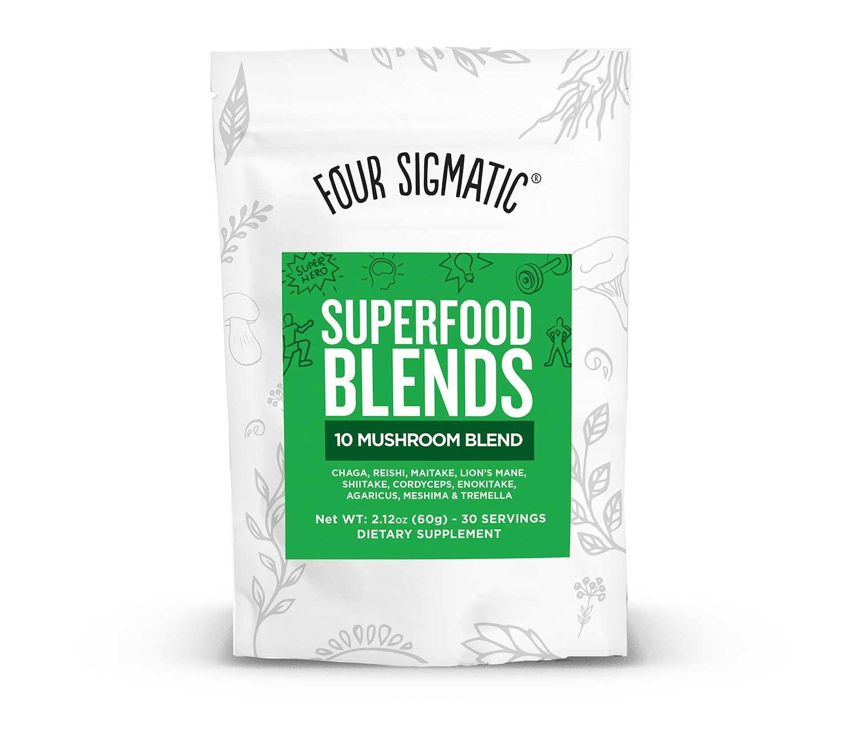 Four Sigmatic 10 Mushroom Blend, 30 Servings. Vegan, paleo and gluten-free, 60 grams