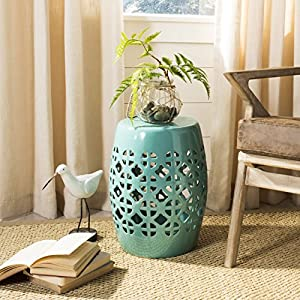 Safavieh Castle Gardens Collection Circle Lattice Light Blue Ceramic Garden Stool