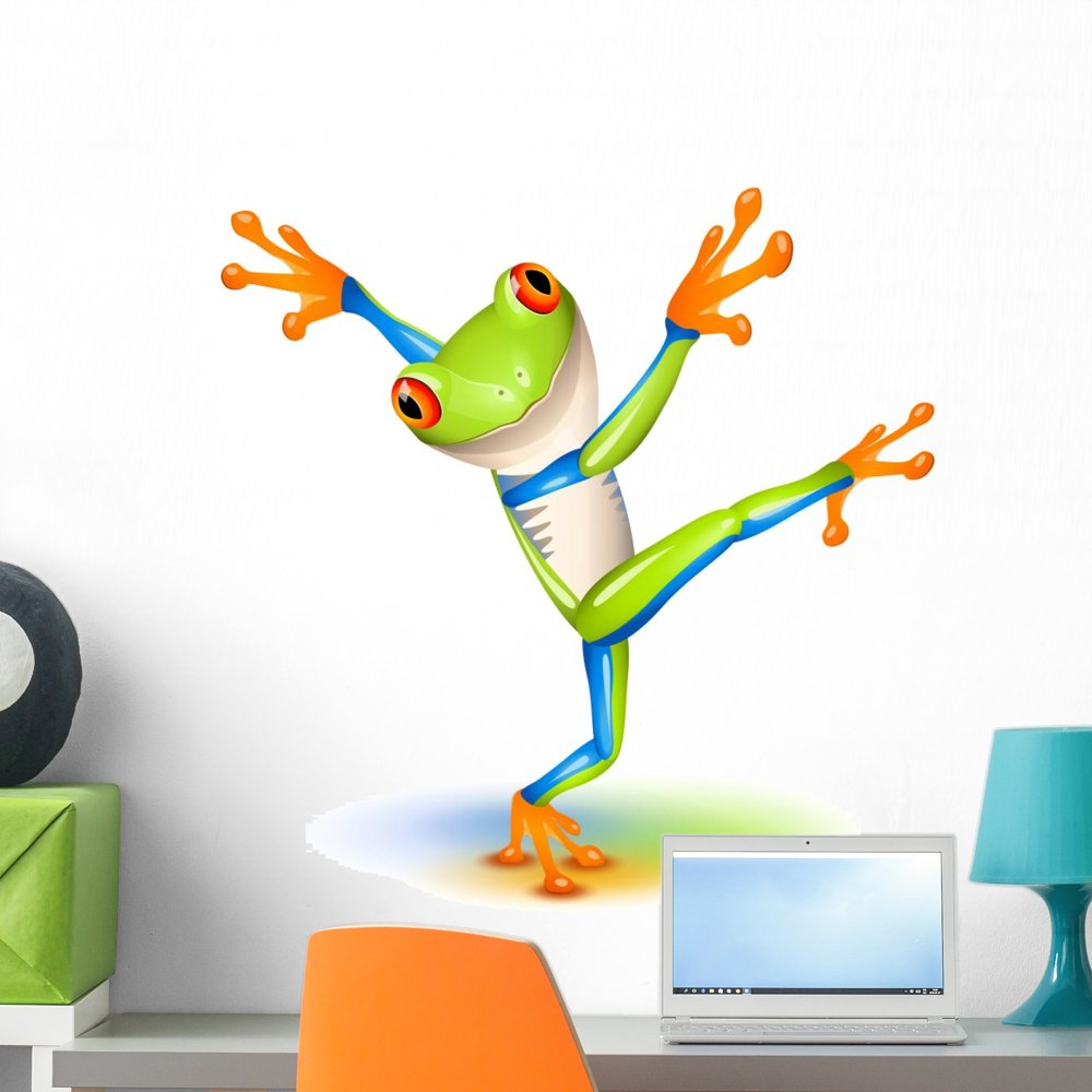 Wallmonkeys Dancing Tree Frog Wall Decal Peel and Stick Graphic (24 in H x 24 in W) WM310394