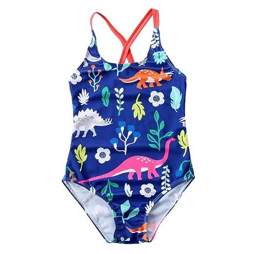 41d9ecb967 Anbaby Little Girl Cute Cartoon Pattern One Piece Swimsuit (Dinosaur