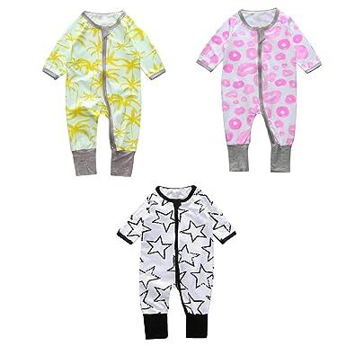 ea2f98eaa Amazon.com  Vividda Unisex Baby Zipper Front Soft Cotton Footed ...