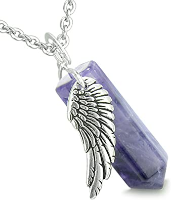 Angel Wing Archangel Michael Magic Wand Crystal Point Black Agate Pendant 18 Inch Necklace