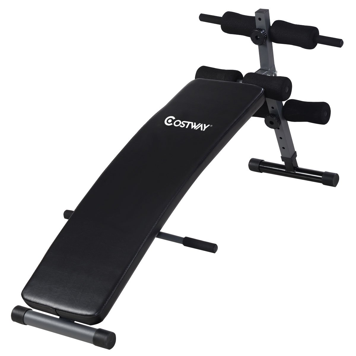 Costway Adjustable Arc-Shaped Decline Sit up Bench Crunch Board Exercise Fitness Workout by COSTWAY