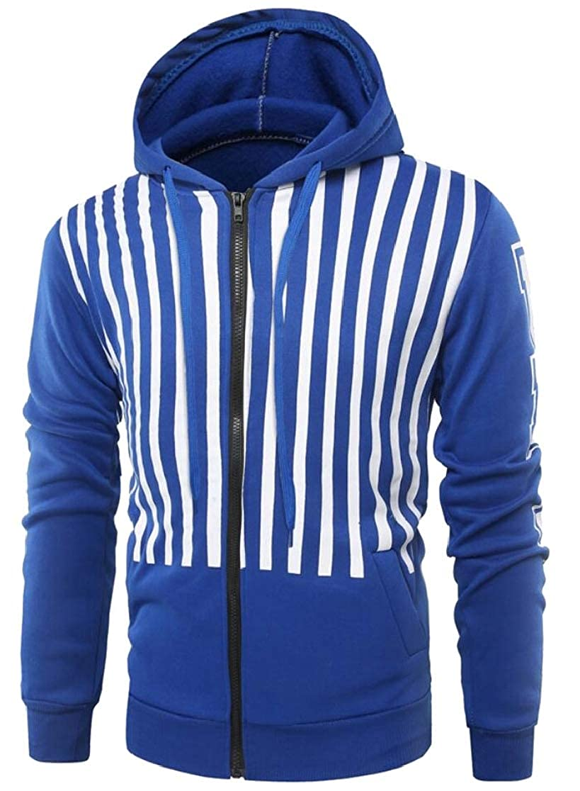 M/&S/&W Mens Slim Fit Gym Stripe Hoodies Sport Workout Front-Zip Sweatshirt Jackets