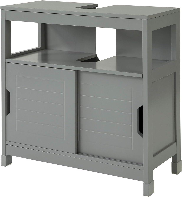SoBuy FRG128-SG Mueble para Debajo del Lavabo Armario de Baño de Suelo 1 Estante y 2 Puertas Correderas 60 * 30 * 61 cm ES