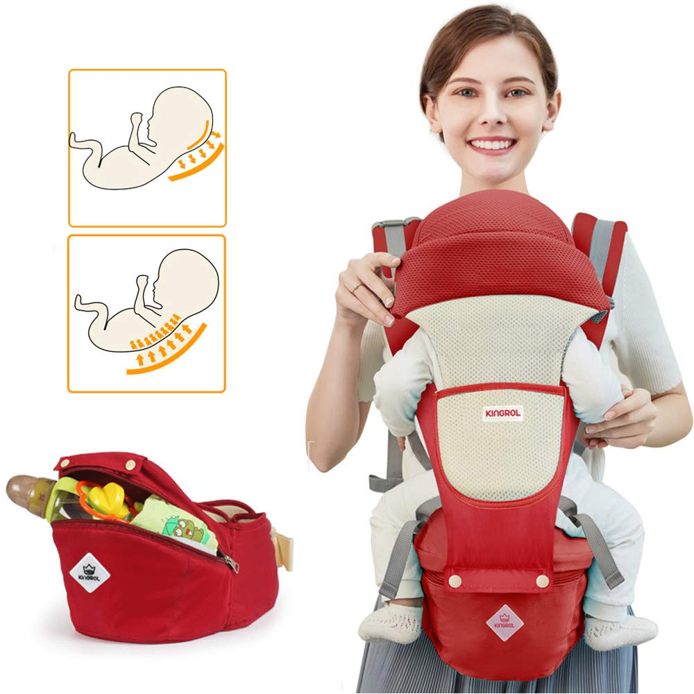 Baby Carrier Soft Sling All Carry with Hip Seat 360 Positions Award-Winning Ergonomic Newborn and Child Seats RED