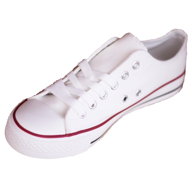Zapatillas Canvas de Lona Zapato de Hombre Estilo Casual y Deportivo, Color Blanco T.41