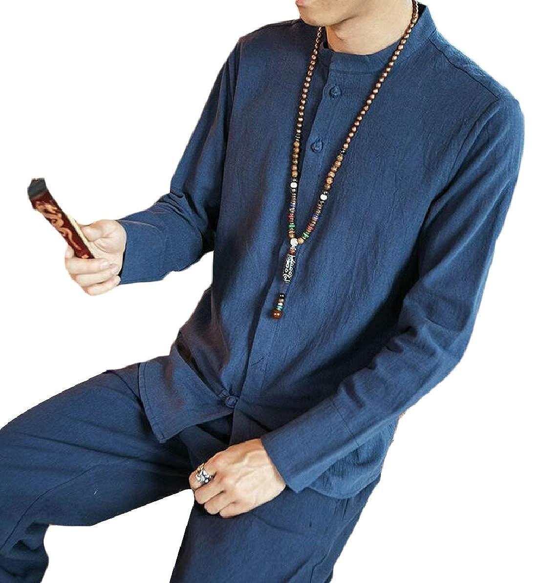 FLCH+YIGE Mens Cotton Linen Chinese Style Fashion Long Sleeve Shirt