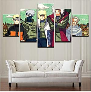No Frame 5 Pieces Naruto Wall Art Prints Modular Poster for Living Room Home Decor Canvas Painting Sasuke Anime Pictures (Color B)