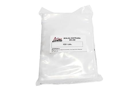 Paquete de 100 bolsas gofradas Plásticos Arias. Medidas 20x30 cm.