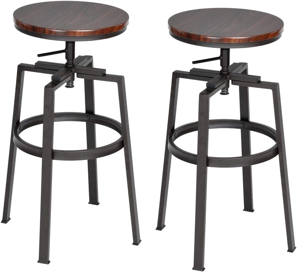 HOMY CASA Bar Stool Set of 2 Counter Height Swivel Bar Chair Round Wood Seat with Metal Legs,Industrial Style,Walnut
