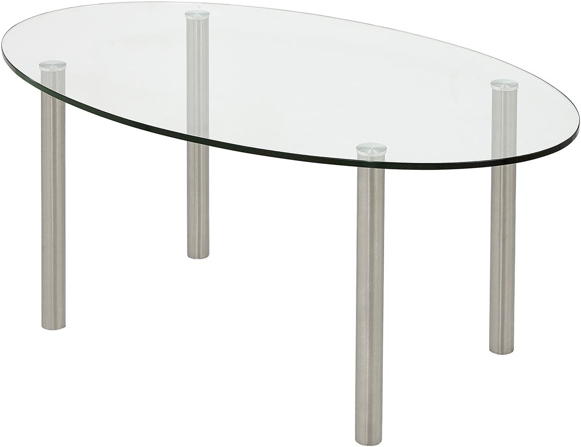 Modern Glass Coffee Table Stainless Brushed Metal Leg Clear Glass Top Designer Tables Round Legs Oval Best for Living Room Couch Area Family Room