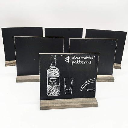 8 juegos de mini pizarras de pizarra con soportes de madera estilo vintage para pizarra pequeña para alimentos, fiestas, bodas, bar y decoración de eventos, 13,9 x 13,1 cm: Amazon.es: Oficina y papelería