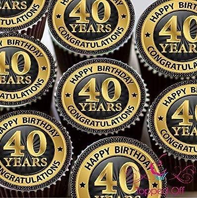 15 x 2 (5 cm) vorgeschnitten redondo Happy 40. Cumpleaños ...