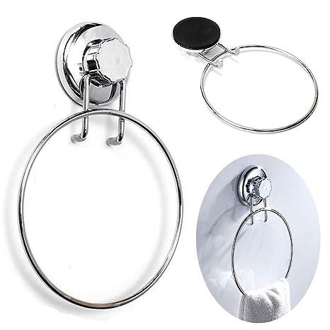 Toallero de baño con ventosa y anilla de acero inoxidable para colgar toallas, para el hogar, cocina, hotel