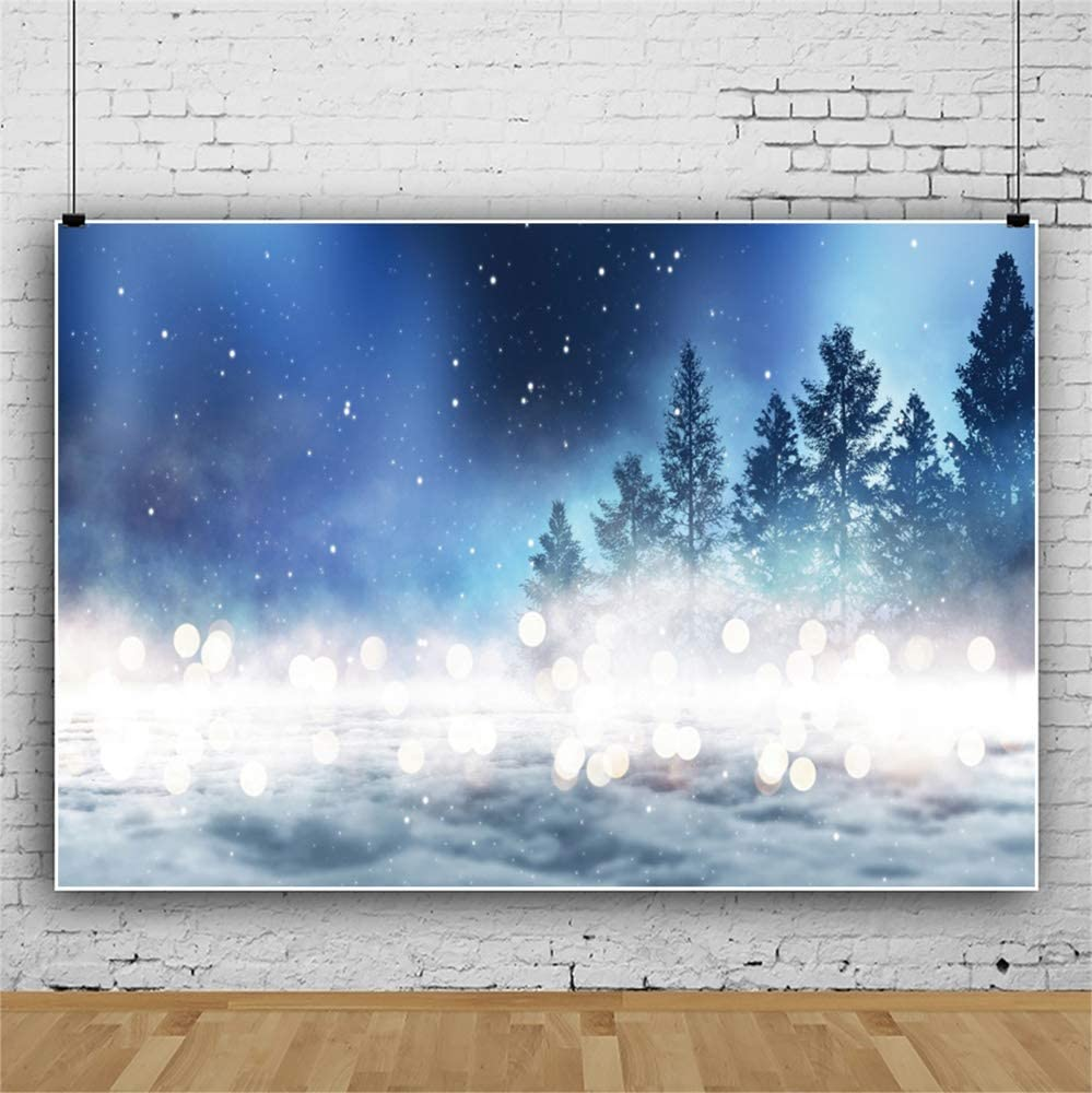 Leowefowa Dreamlike Starry Nightsky Forest Bokeh Haloes Backdrop for Photography Vinyl Baby Birthday Background 10x8ft Child Kids Adult Portrait Shoot Event Activities Photo Shoot Studio Props