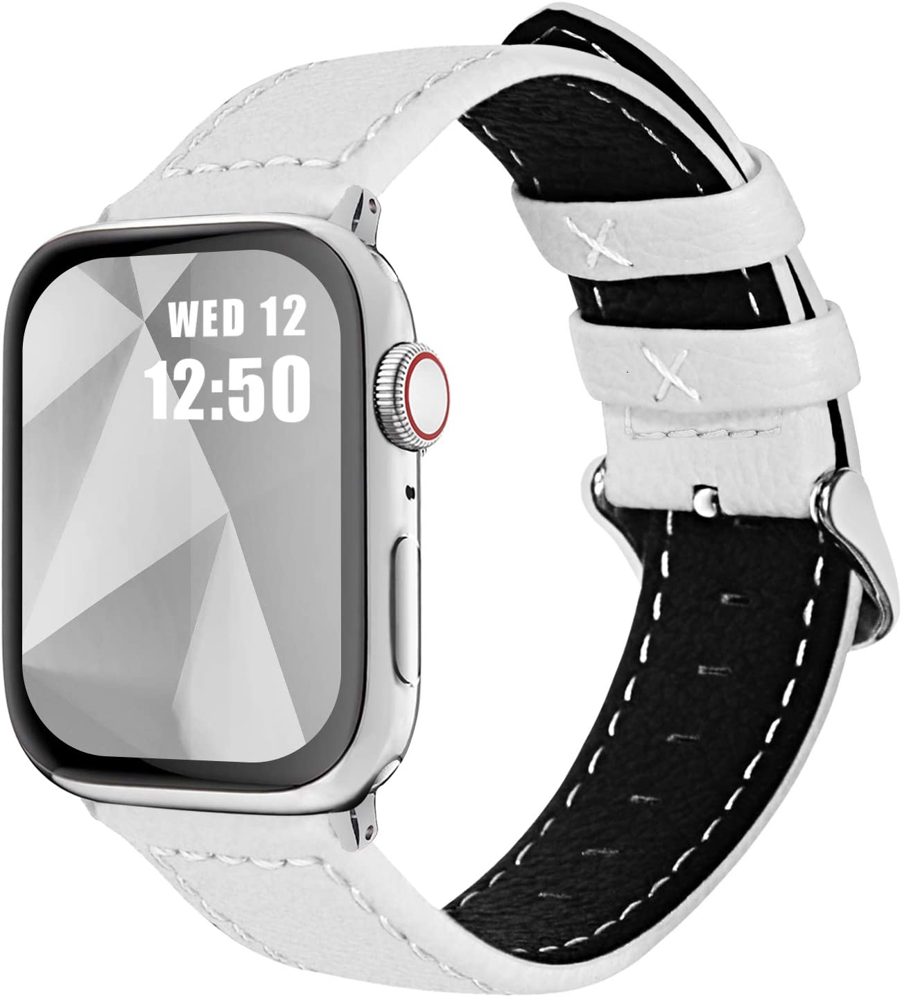 Fullmosa Compatible Apple Watch Band Leather 42mm 44mm 38mm 40mm for iWatch SE & Series 6/5/4/3/2/1,42mm/44mm White + Silver Buckle