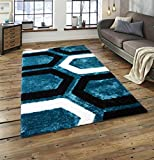 All New Contemporary Geometric Design Shag Rugs by Rug Deal Plus (5' x 7', Blue/Black)