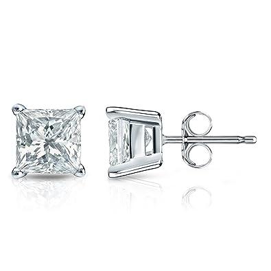 453abc395 Diamond Wish 14k White Gold Princess-cut Diamond Stud Earrings (1/5 cttw