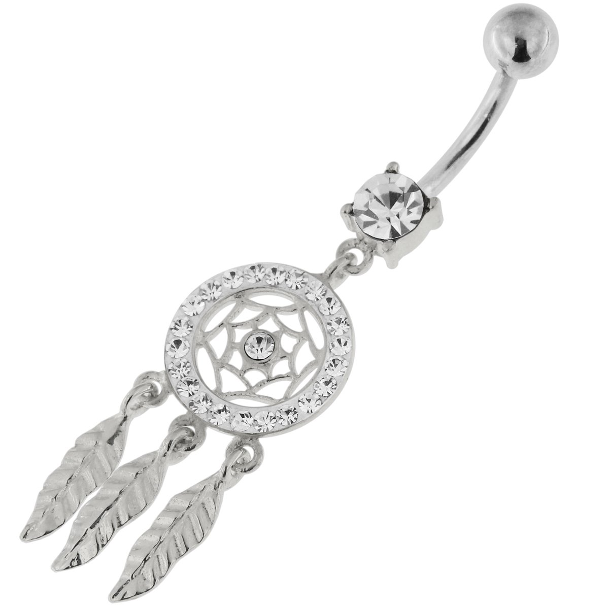 Clear Multi Crystal Stone Mini Dream Catcher 925 Sterling Silver Belly Button Piercing Ring Jewelry