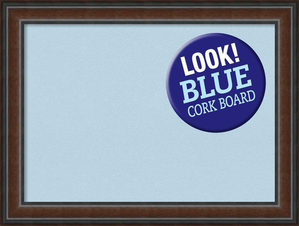 Amanti Art Large, Outer Size 33 x 25 Blue Cork Cyprus Walnut Framed Bulletin Boards