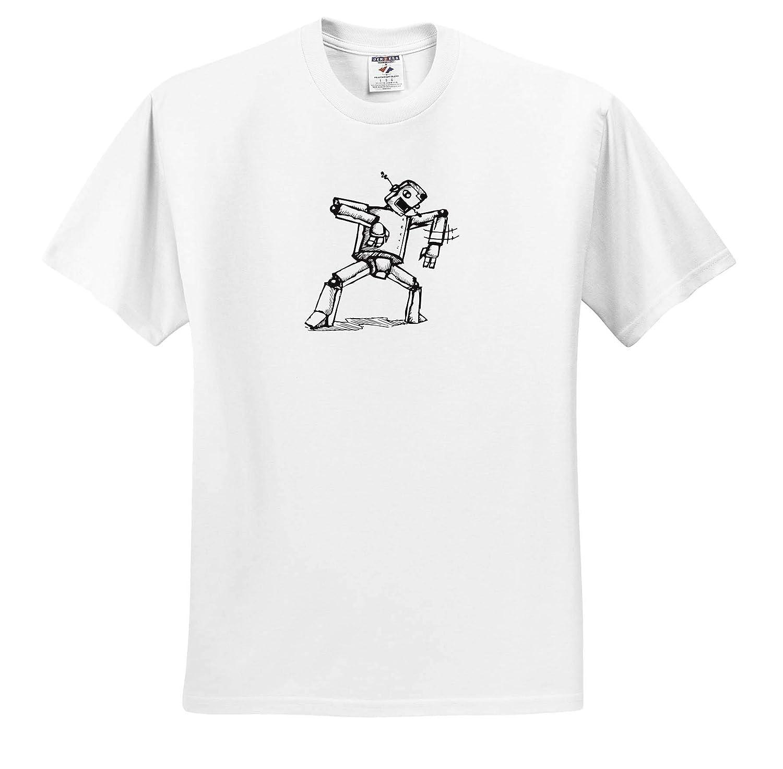 Adult T-Shirt XL 3dRose Travis ECK Art Robot Doing The Robot Dance ts/_317523