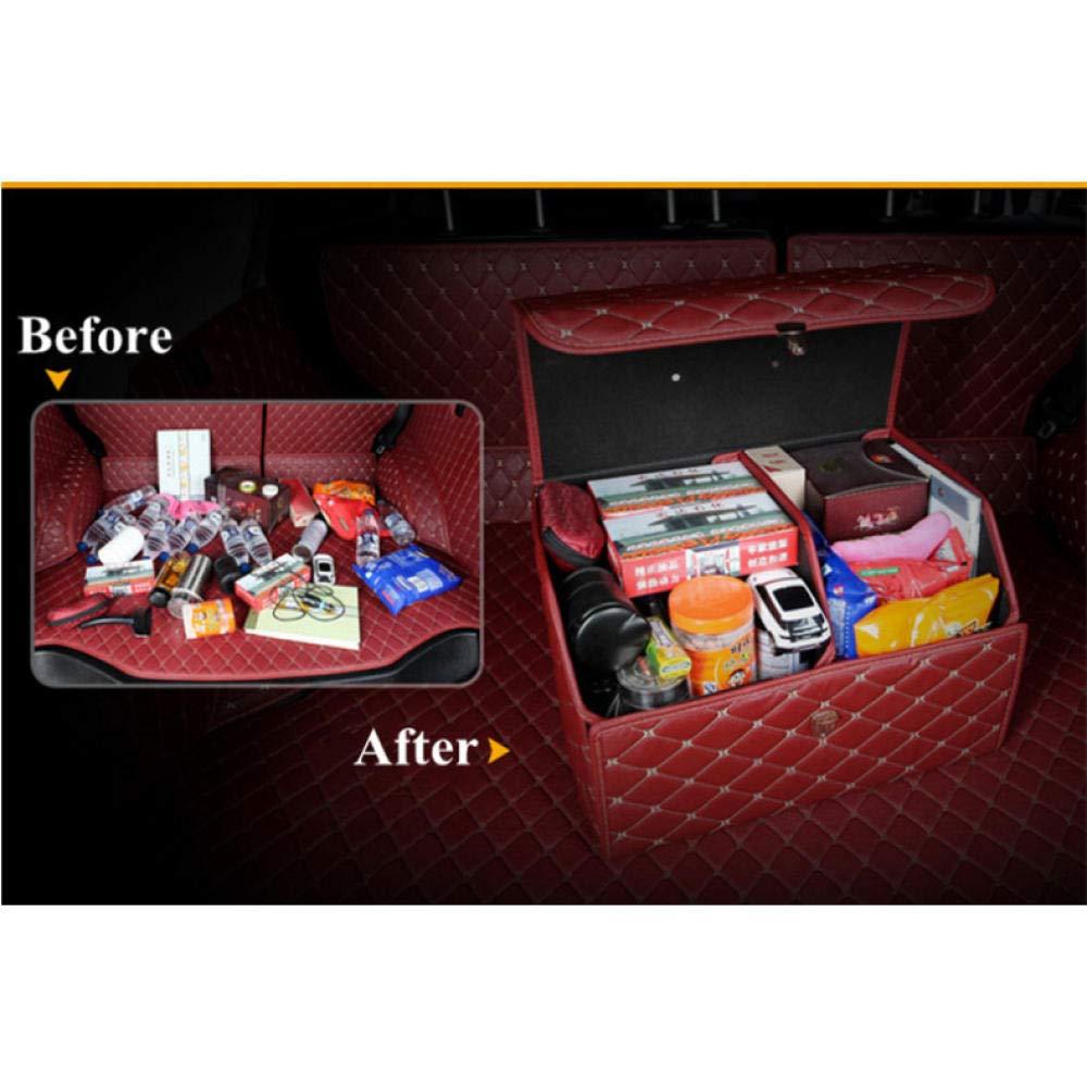 Kofferraum Organizer Box Aufbewahrungstasche Kofferraum Tasche PU Leder Falten Gro/ße Fracht Lagerung Verstauen Aufr/äumen Autozubeh/ör schwarz 41 30 cm 31