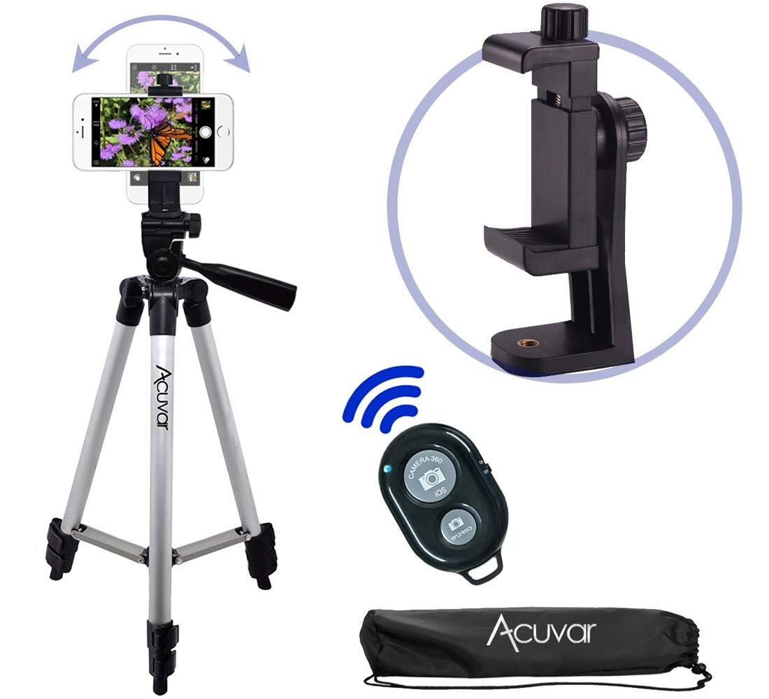 Acuvar 50'' Smartphone/Camera Tripod with Rotating Mount & Wireless Camera Remote. Fits All Smartphones iPhone Xs, Max, Xr, X 8, 8+, 7, 7 Plus, Android Note 10, S10+ etc. by Acuvar