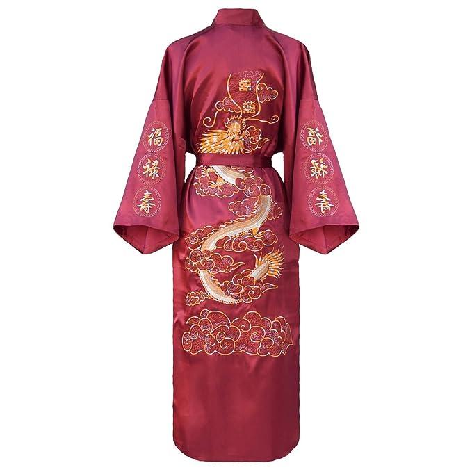 kimono japonés para los mujeres, bata elegante estilo chino : negro, azul o borgoña: Amazon.es: Ropa y accesorios
