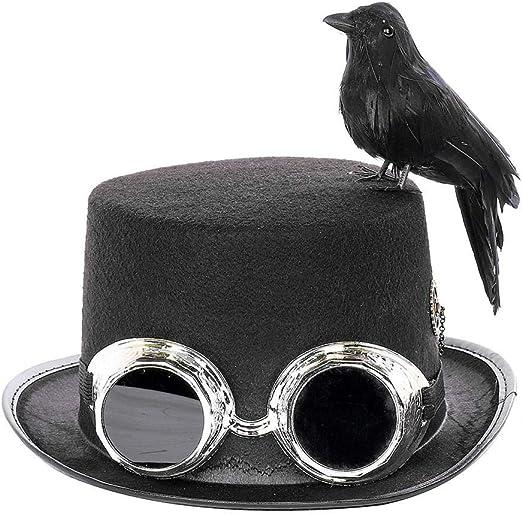 Lacyie Sombrero de Copa Steampunk con Gafas y Cuervo Decorativo ...