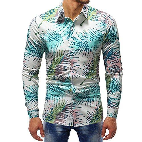 iYBUIA Spring Man Fashion Cotton Printed Blouse Casual Long Sleeve Slim Shirts Tops(Multicolor,XXXXXL)