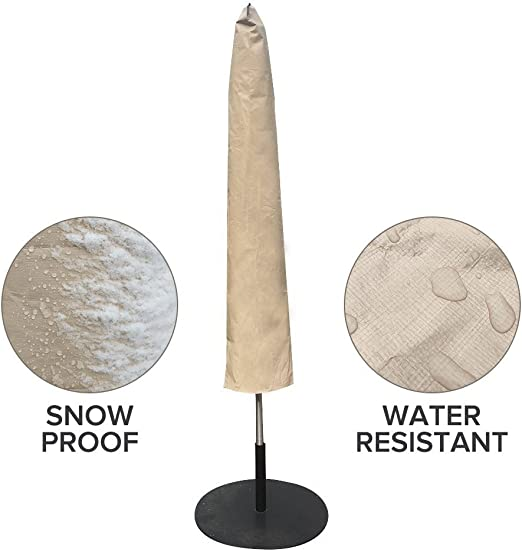 Colore Beige Abba Patio Copertura Protettiva Impermeabile per ombrelloni Copertura per Ombrello da 210cm a 335cm Telo di Protezione per Oggetti da Giardino