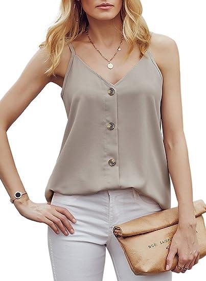 LOMON Womens Tank Top V Neck Strap Cami Tank Boho Casual Sleeveless Shirt Blouse S-XXL