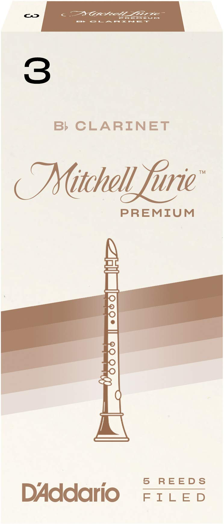 D'Addario Woodwinds Mitchell Lurie Premium Bb Clarinet Reeds, Strength 3.0, 5-pack - RMLP5BCL300