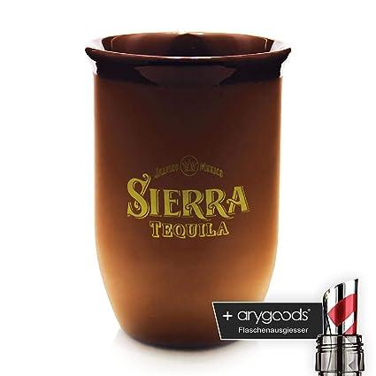 Sierra Tequila Terracota Taza, marca Cristal, Goldenes Logo + Botella vertedor