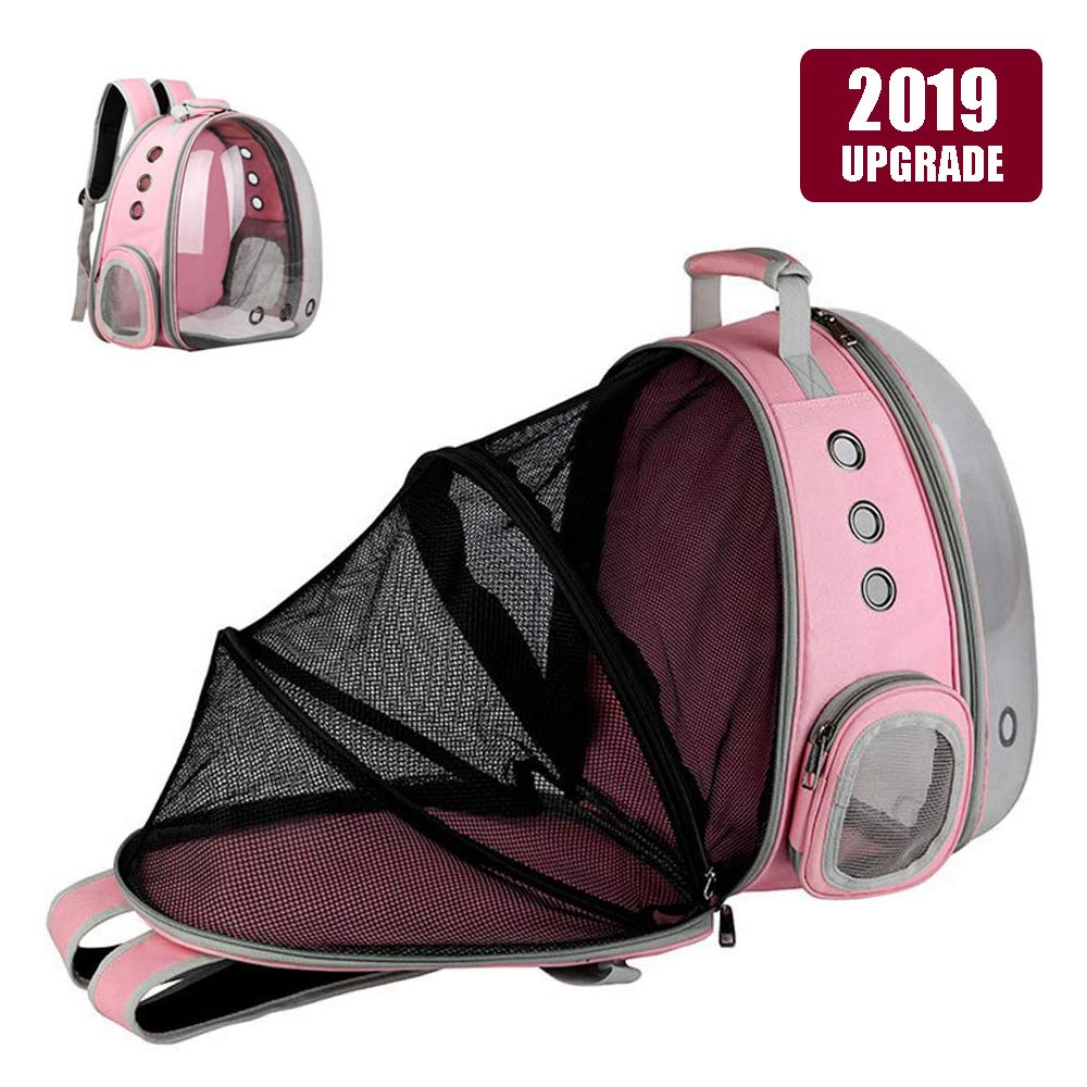 Pink Expandable Pet Bubble Backpack,Hamkaw [2019 Newest] Foldable Transparent Panoramic Cat Carrier with 9 Venting Hole Breathable Portable Pet Carrier Backpack Travel Space Capsule for Cat Dog