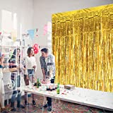 HDLJD Shiny Gold Metallic Foil Fringe Door & Window Curtain Party Decoration 3.3' X 6.6' (Value Pack of