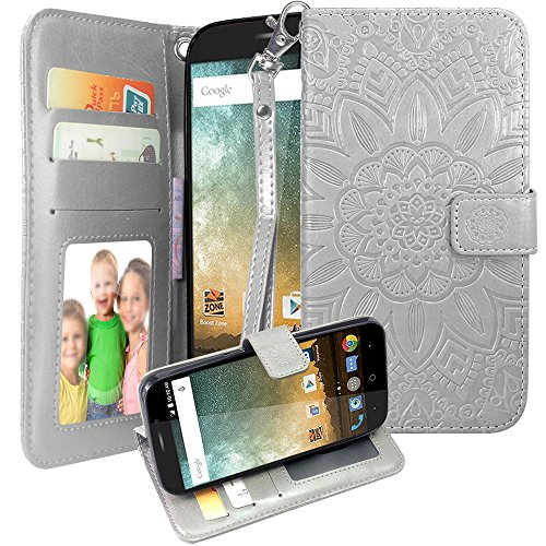 Harryshell For ZTE Prestige 2 N9136 / Avid Plus / Chapel / Sonata 3 / Maven 2 / Prestige N9132 / Avid Trio / ZFive 2 / Midnight Pro Flip PU Wallet Leather Case Cover with Card Slot Wrist Strap (B-1)