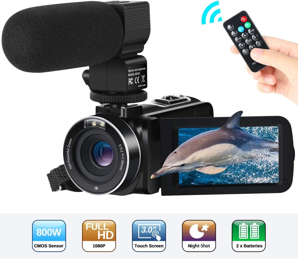 Video Camcorder Full HD 1080P Vlogging 24MP 16X Digital Zoom 3.0/'/' LCD