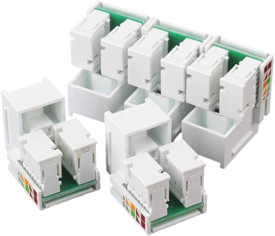 5pcs Cat 5E Jack RJ45 Cat5e LAN Module Network Wall Plug White