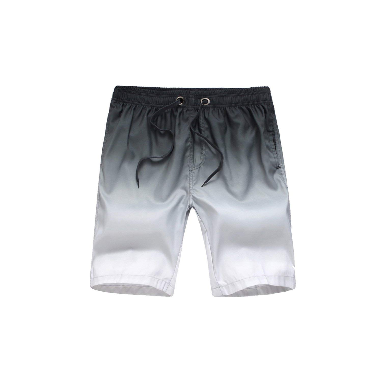Mens Beach Shorts Summer Sports Swimming Surf Trunks Gradient Shorts Drawstring Swimwear
