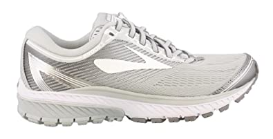 ab16d42ea76 Image Unavailable. Image not available for. Colour  Brooks Women s Ghost 10  Microchip White Metallic Charcoal Athletic Shoe