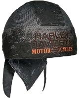 Harley-Davidson Mens Charcoal Sublimated H-D Head Wrap, Distressed Black HW51681