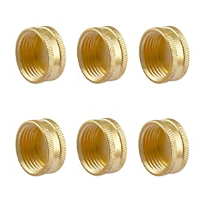 """Litorange (6 Pack Garden Hose Female End Brass Fitting Cap Set, Green Thumb Heavy Duty & Leak-Free, Connect to 3/4"""" Thread Hose Male and Spigot End with 6 Washers."""