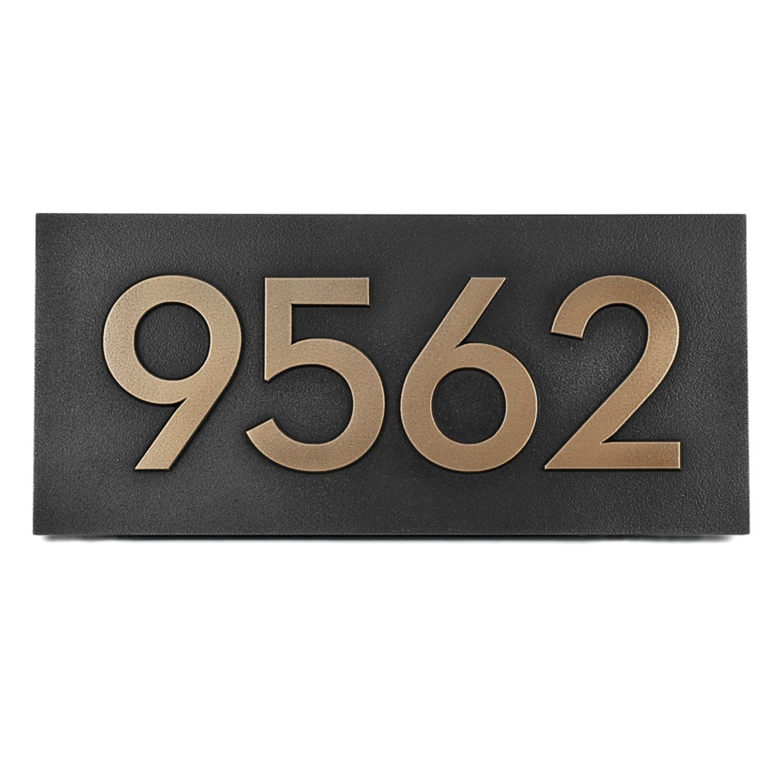 Modern Font Handcrafted Address Plaque - For Home or Business 15.5 x 7 Raised Lettering - Sign is Metal Coated in Bronze by Atlas Signs and Plaques