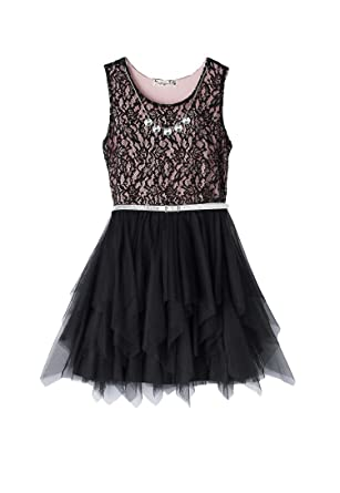 8b1c4165b Amazon.com: Knitworks Girls Lace Bodice Dress with Necklace, Black ...