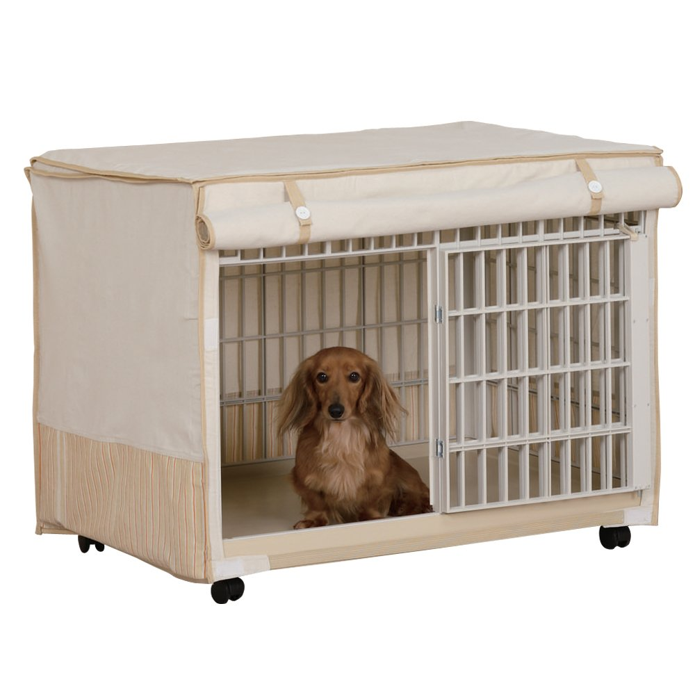 IRIS Plastic Pet Crate Cage with Fabric Cover